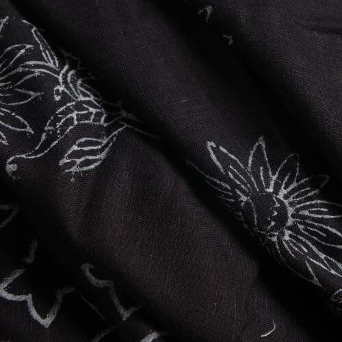 Black Hand Block Printed Kaftan (Size 80x70 Cm)