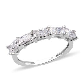 J Francis - Platinum Overlay Sterling Silver 5-Stone Ring Made with SWAROVSKI ZIRCONIA