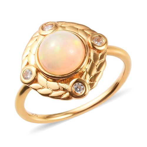 AA Ethiopian Welo Opal and Natural Cambodian Zircon Ring in 14K Gold Overlay Sterling Silver 1.00 Ct
