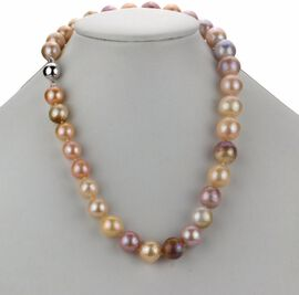 Multi Edison Pearl Necklace (Size - 20) in Rhodium Overlay Sterling Silver with Magnetic Lock