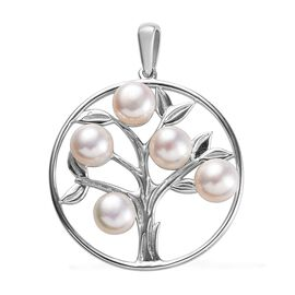 Freshwater Pearl (Rnd) Tree of Life Pendant in Platinum Overlay Sterling Silver