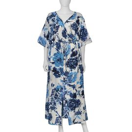 Designer Inspired Floral Pattern Screen Printed One Size Waist Drawstring Dress (Size 131x140 Cm) -