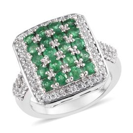 2.50 Ct Emerald Sokoto and Zircon Cluster Ring in Platinum Plated Sterling Silver 5.50 Grams