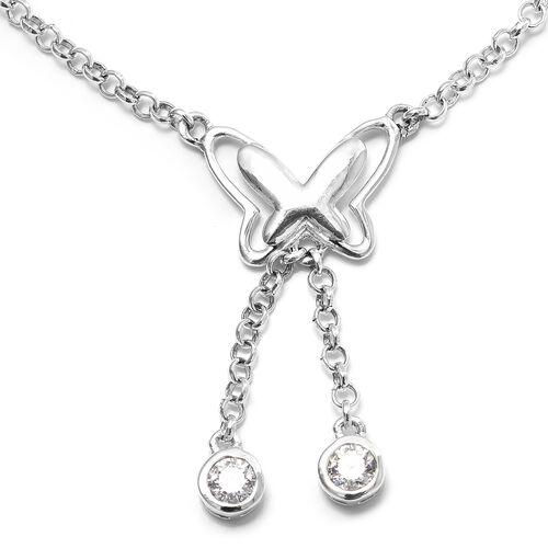 J Francis Sterling Silver (Rnd) Butterfly Bracelet (Size 7.5 + 1.5 Ext.)  made with Swarovski Zirconia, Silver wt 5.15 Gms