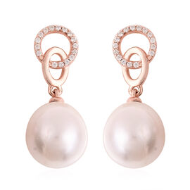 Baroque Edison Pearl and Natural Cambodian Zircon Earrings (with Push Back) in Rose Gold Overlay Ste