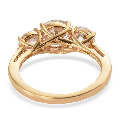 J Francis - 14K Gold Overlay Sterling Silver (Rnd 7 mm) Three Stone Ring Made With SWAROVSKI ZIRCONIA