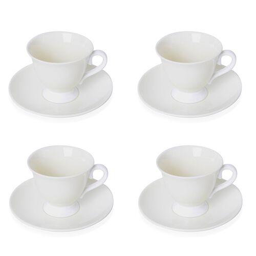 Set of 4 Cream Ceramic Tea Cups (9X8CM) with Set of 4 Saucer (14 Cm)