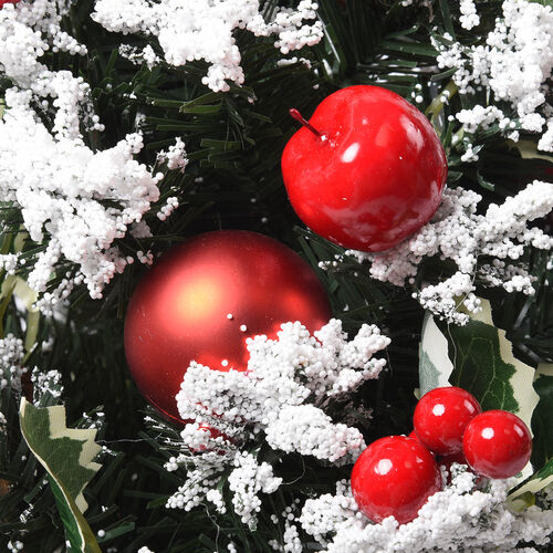 Table Christmas Tree with Snow Flocking, Baubles, Apple and Pine Cone (Size 40cm) - Red