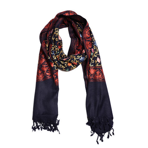 100% Merino Wool Navy Blue, Orange and Multi Colour Flower and Leaves Embroidered Shawl (Size 190x70 Cm)