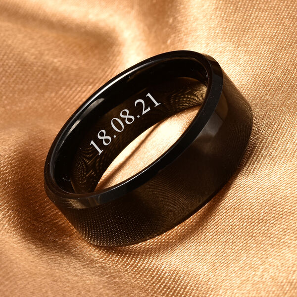 Personalised Engravable Natural TungstenSecret Message Band Ring