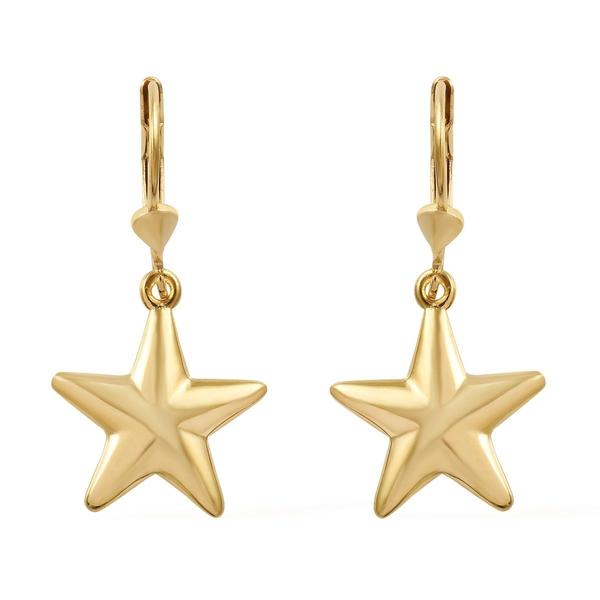 14K Gold Overlay Sterling Silver Lever Back Star Earrings
