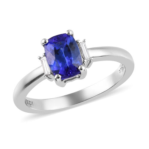 RHAPSODY 1.15 Ct AAAA Tanzanite and Diamond Solitaire Ring in 950 Platinum VS EF