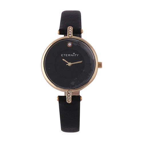 ETERNITY Swarovski Studded Ladies Watch with Black Dial and Genuine Leather Strap