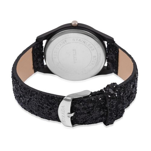 Set of 2- Black Colour Magic Scarf with Silver Threads (Size 170x20 Cm) and STRADA Japanese Movement Water Resistant Watch with Black Sequin Strap.