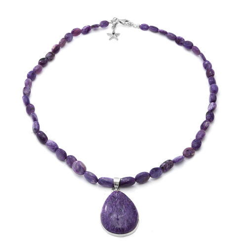 GP 150.03 Ct Russian Charoite Teardrop Beaded Necklace withStar Charm in Platinum Plated Silver