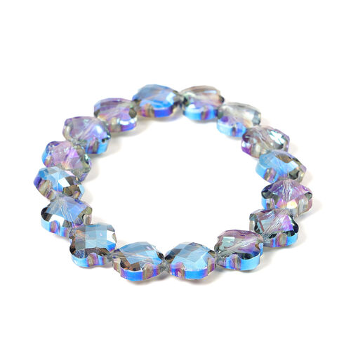 2 Piece Set -  Simulated Blue AB Crystal Necklace (Size 35 with Magnetic Lock) and Bracelet (Size 6.5) in Stainless Steel
