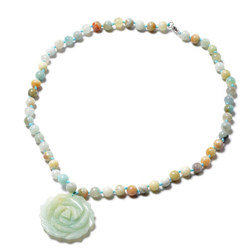 Multi Colour Amazonite Beaded Necklace in Rhodium Plated Sterling Silver 18 Inch