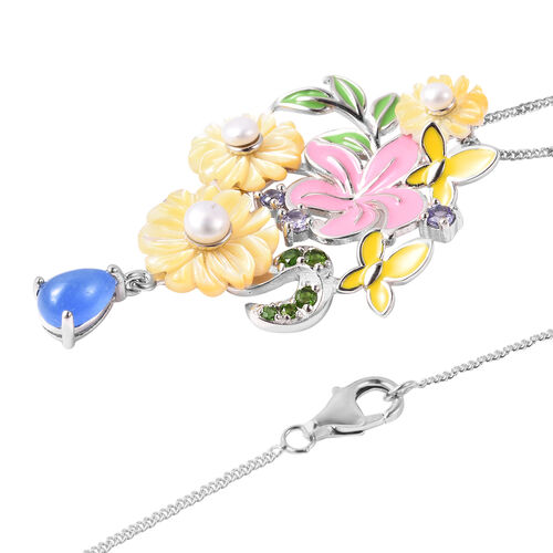 Jardin Collection - Yellow Mother of Pearl, Freshwater Pearl and Multi Gemstone Enamelled Floral Pendant with Chain (Size 18) in Rhodium Overlay Sterling Silver, Silver wt 6.90 Gms