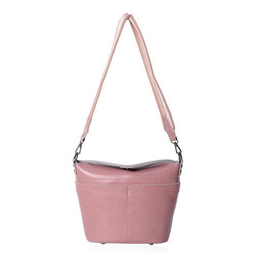 Super Reduction Deal 100% Genuine Leather Dusky Pink Colour Shoulder Bag with Removable Shoulder Strap (Size 28x25x22x13 Cm)