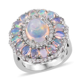 4.4 Ct Ethiopian Opal and Cambodian Zircon Halo Ring in Platinum Plated Sterling Silver 6.5 Grams