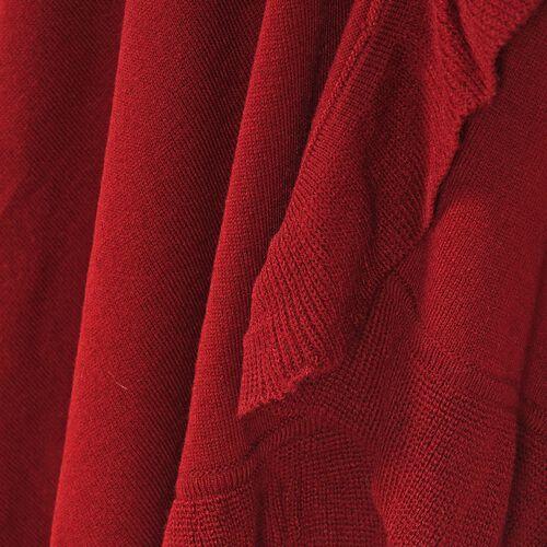 Knit Kimono with Frilled Hemline (L: 150cm, W: 140cm) - Burgundy