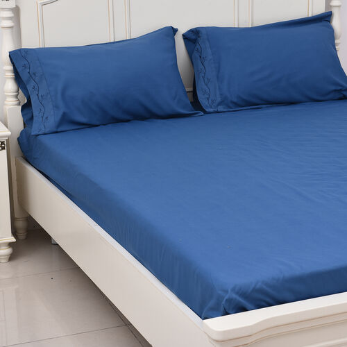 8 Piece Set - 2xFitted Sheet, 2xFlat Sheet and 4xPillow Case (Double Size) - Blue