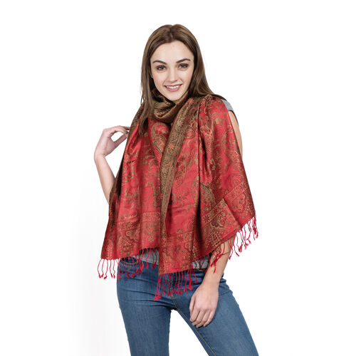 SILK MARK- 100% Superfine Silk Red, Green and Multi Colour Jacquard Jamawar Scarf with Fringes (Size