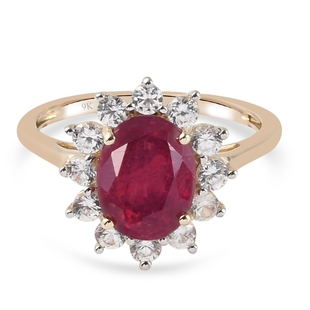 9K Yellow Gold AA Ruby African (FF) and Natural Cambodian Zircon Ring 3.65 Ct.