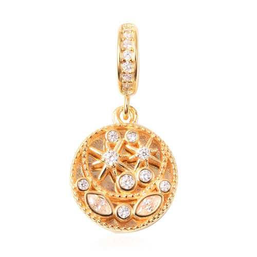 Charmes De Memoire - Simulated Diamond Charm in Yellow Gold Overlay Sterling Silver  Charm/Pendant