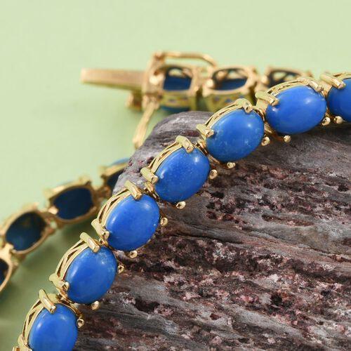 Ceruleite (Ovl) Tennis Bracelet (Size 7.5) in 14K Gold Overlay Sterling Silver 15.500 Ct. Silver wt 11.00 Gms.