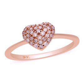 9K Rose Gold Natural Pink Daimond Heart Ring 0.25 Ct.
