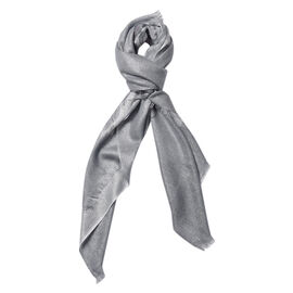 Art Pattern Scarf with Silver Wire (Size 100x100 Cm) - Grey, White and Multi