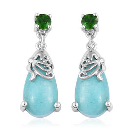 8.75 Ct Peruvain Amazonite Drop Earrings in Platinum Plated Sterling Silver