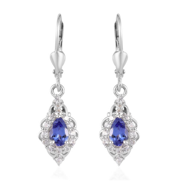 AAA Tanzanite and Natural Cambodian Zircon Lever Back Earrings in  Platinum Overlay Sterling Silver