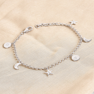 Personalised Engraved Initial Star,Moon and Disc bracelet with 7.5Inch Chain