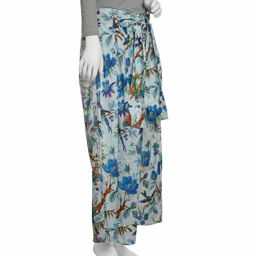 100% Cotton Blue, Green and Multi Colour Flower, Leaves and Birds Pattern Palazzo Trouser (Size 95x40 Cm)