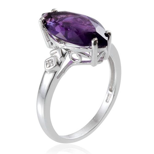 Amethyst (Mrq 5.25 Ct), Diamond Ring in Platinum Overlay Sterling Silver 5.260 Ct.