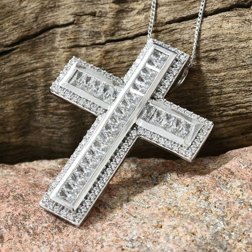 J Francis - Platinum Overlay Sterling Silver (Rnd and Bgt) Cross Pendant with Chain Made with SWAROVSKI ZIRCONIA, Silver wt 7.04 Gms. Number of Swarovski 117.