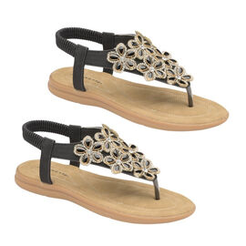 Dunlop Jaden Embellished Toe Post Flat Sandals in Black Colour