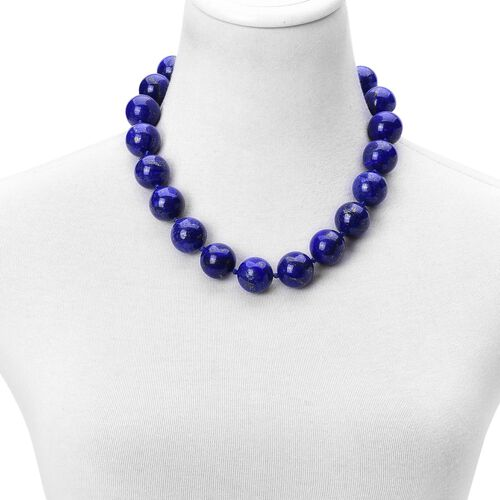 Rare Size Lapis Lazuli Ball Beads Necklace (Size 20) with Magnetic Clasp in Rhodium Plated Sterling Silver 1410.000 Ct.