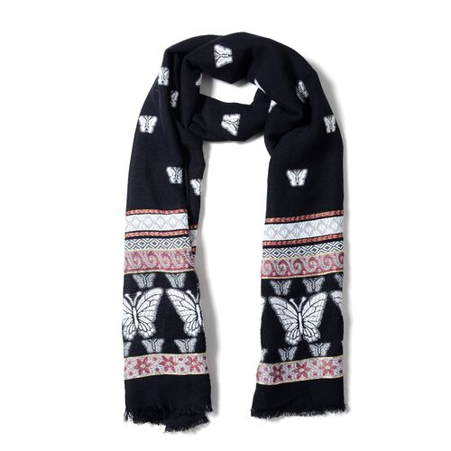 Black and Multi Colour Scarf with Butterfly and Strip Pattern (Size 170x68 Cm)