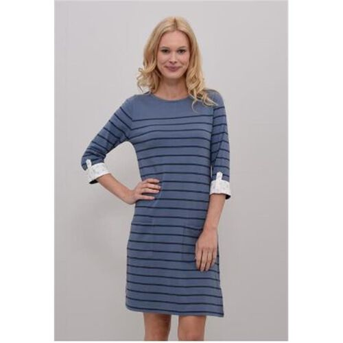 BRAKEBURN Jersey Stripe Blue Dress (Size-8)