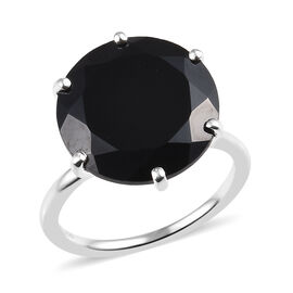 10.50 Ct Boi Ploi Black Spinel Solitaire Ring in Sterling Silver