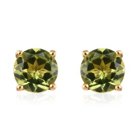 Hebei Peridot (Rnd 6 mm) Stud Earrings (with Push Back) in 14K Gold Overlay Sterling Silver 1.75 Ct.