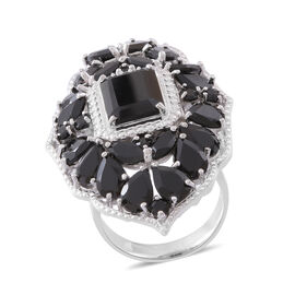 Boi Ploi Black Spinel (Oct 7.50 Ct) Ring in Rhodium Plated Sterling Silver 24.060 Ct.