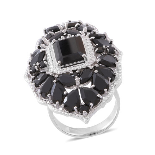 Boi Ploi Black Spinel (Oct 7.50 Ct) Ring in Rhodium Plated Sterling Silver 24.060 Ct. Silver wt. 12.80 Gms.