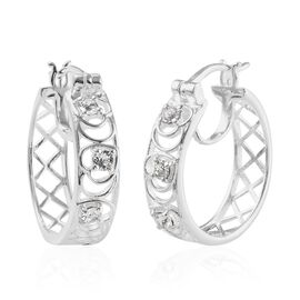J Francis White Crystal from Swarovski Hoop Earrings in Silver