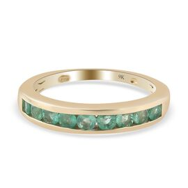9K Yellow Gold Boyoca Colombian Emerald Half Eternity Band Ring