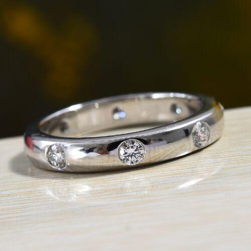 RHAPSODY 950 Platinum IGI Certified Diamond (Rnd) (E-F/VS) Band Ring 0.50 Ct, Platinum wt 5.97 Gms