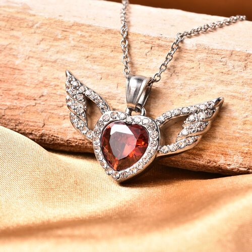Simulated Garnet and White Austrian Crystal Heart with Wing Pendant with Chain (Size 20) in Stainless Steel